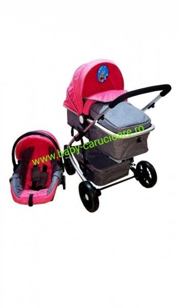 Cărucior nou născut 3 in 1 Baby Care YK 18-19 Roz