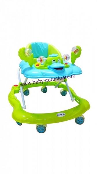 Premergator cu roți din silicon Baby Care Aqua