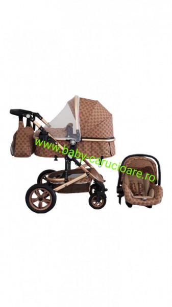Poze Carucior nou născut 3 in 1 + geantă multifuncționala+plasă pentru insecte Baby Care S 530 Capuccino Bambucci