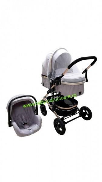 Poze Cărucior nou născut 3 in 1 + plasă pentru insecte Baby Care 531 Grey