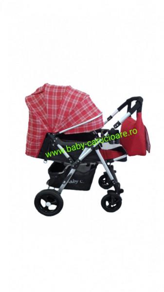 Poze Cărucior nou născut 2 in 1+geanta multifuncționala+plasă pentru insecte Baby Care 511 Roșu Design