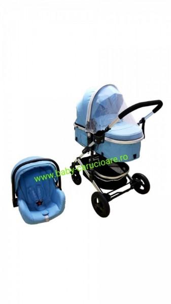 Poze Cărucior nou născut 3 in 1 + plasă pentru insecte Baby Care 531 Blue