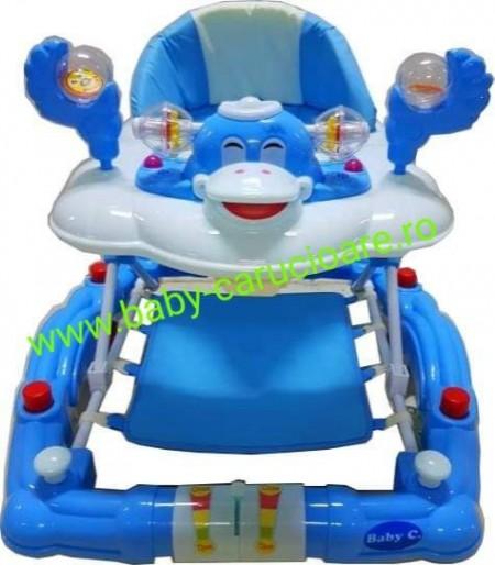 Poze Premergator balansoar 2 in 1 cu roți din silicon Baby Care Ratusca Albastru