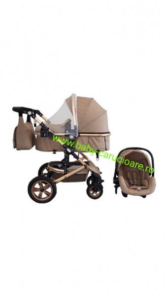 Poze Cărucior nou născut 3 in 1 +geantă multifuncționala +plasă pentru insecte Baby Care S 530 Dark Capuccino