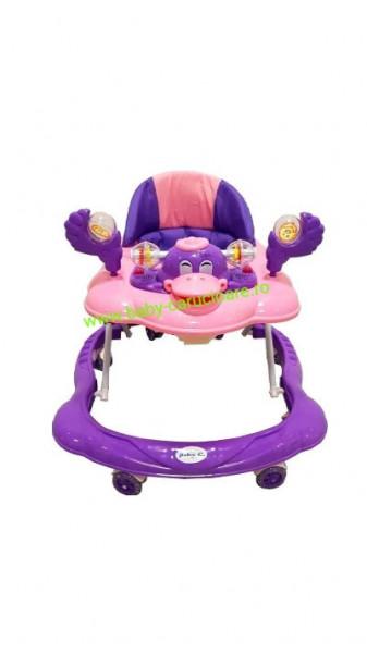 Premergător cu roți din silicon Baby Care Ratusca Purple
