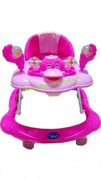 Poze Premergător cu roți din silicon Baby Care ratusca- roz
