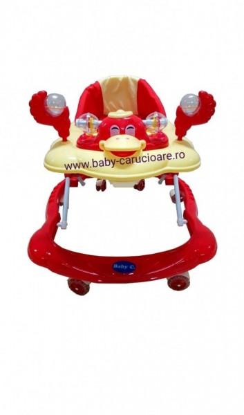 Poze Premergator cu roți din silicon Baby Care Roșu