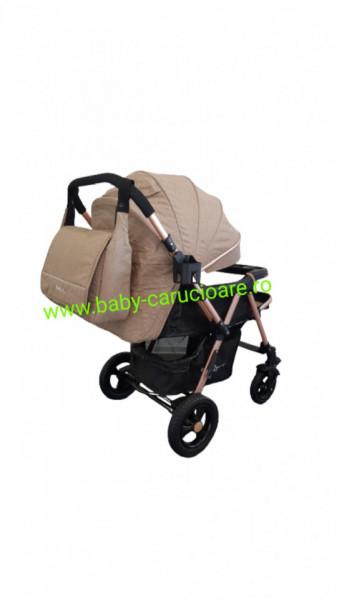 Cărucior nou născut 2 in 1+geanta multifuncționala+plasă pentru insecte Baby Care 511 Capuccino