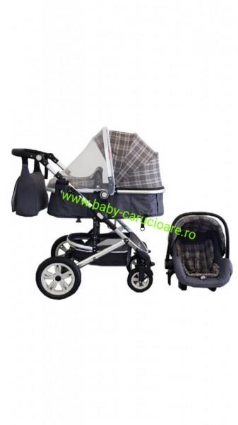 Poze Carucior nou născut 3 in 1+ geantă multifuncționala +plasă pentru insecte Baby Care S 530 Grey Design