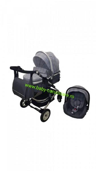 Poze Cărucior nou născut 3 in 1 +geantă multifuncționala+ plasă pentru insecte Baby Care 531 Grey Design