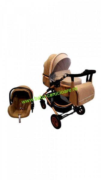 Cărucior nou născut 3 in 1 +geantă multifuncționala +plasă pentru insecte Baby Care 531 Dark Capuccino
