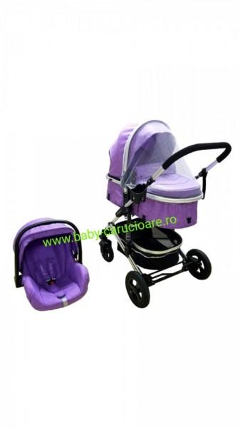 Poze Cărucior nou născut 3 in 1 + plasă pentru insecte Baby Care 531 Purple