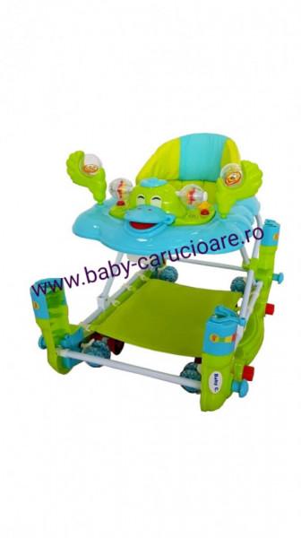Poze Premergator balansoar 2 in 1 cu roți din silicon Baby Care Ratusca Aqua