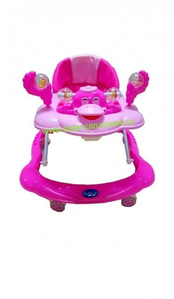 Poze Premergator cu roți din silicon Baby Care Roz