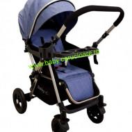 Cărucior nou născut 2 in 1 +plasă pentru insecte Baby Care 511 Albastru Jeans