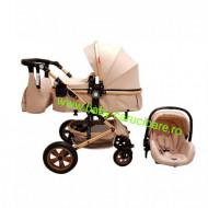 Cărucior nou născut 3 in 1 +geantă multifuncționala+ plasă pentru insecte Baby Care 530 Crem Gold