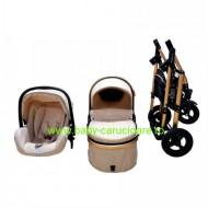 Cărucior nou născut 3 in 1 + plasă pentru insecte Baby Care 531 Beige