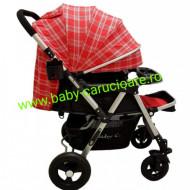 Cărucior nou născut 2 in 1 +plasă pentru insecte Baby Care 511 Roșu Design