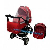 Cărucior nou născut 3 in 1 +geantă multifuncționala+ plasă pentru insecte Baby Care 531 Roșu Design