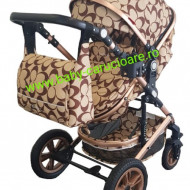 Carucior nou născut 3 in 1 + geantă multifuncționala+plasă pentru insecte Baby Care S 530 Capuccino Oval