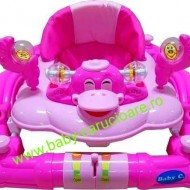 Premergator balansoar 2 in 1 cu roți din silicon Baby Care Ratusca Roz