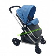 Cărucior nou născut 3 in 1 Baby Care YK 18-19 Albastru cu gri