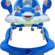 Premergător cu roți din silicon Baby Care ratusca- albastru