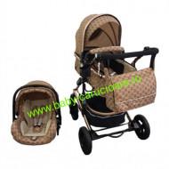 Carucior nou născut 3 in 1 + geantă multifuncționala+plasă pentru insecte Baby Care 531 Capuccino Design