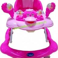 Premergător cu roți din silicon Baby Care ratusca- roz