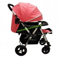 Cărucior nou născut 2 in 1 +plasă pentru insecte Baby Care 511 Pink