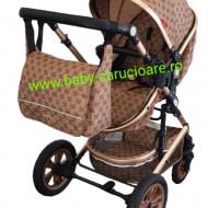 Carucior nou născut 3 in 1 + geantă multifuncționala+plasă pentru insecte Baby Care S 530 Capuccino Bambucci