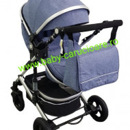 Cărucior nou născut 3 in 1+geantă multifuncționala+plasă pentru insecte Baby Care 531 Albastru Jeans