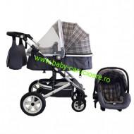 Carucior nou născut 3 in 1+ geantă multifuncționala +plasă pentru insecte Baby Care S 530 Grey Design