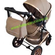 Cărucior nou născut 3 in 1 +geantă multifuncționala +plasă pentru insecte Baby Care S 530 Dark Capuccino
