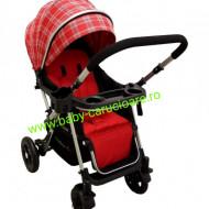 Cărucior nou născut 2 in 1+geanta multifuncționala+plasă pentru insecte Baby Care 511 Roșu Design