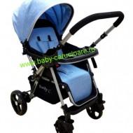 Cărucior nou născut 2 in 1 +plasă pentru insecte Baby Care 511 Albastru
