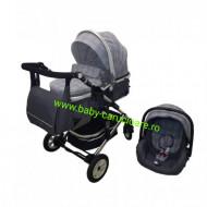 Cărucior nou născut 3 in 1 +geantă multifuncționala+ plasă pentru insecte Baby Care 531 Grey Design
