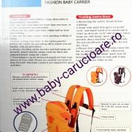 Marsupiu textil multifuncțional Baby Carrier 100 %Safety Portocaliu