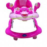 Premergator cu roți din silicon Baby Care Roz