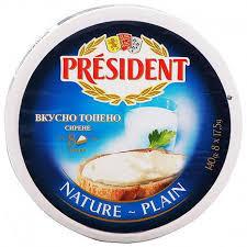Президент топено сирене натурално 140гр.