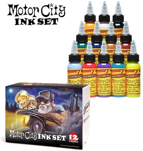Eternal ink motor city set 12 colours 1oz 30ml 135 00 for Motorcity tattoo supply