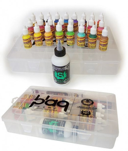 TRAVEL SET - ETERNAL INK nchiostri da 25x 15ml (1/2oz) + 1 Bottiglia di Stencil Stuff da 120ml