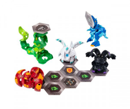 Set Bakugan Battle Pack- Ventus Fangzor si Aquos Trox, cu 5 Figurine incluse