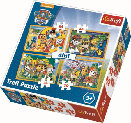 Puzzle Trefl 4 in 1, Paw Patrol, 35/48/54/70 piese
