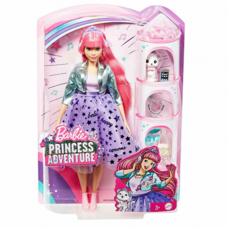 Papusa Barbie Princess Adventure - Printesa Daisy cu par Roz si Pisica