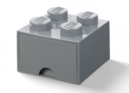 Cutie depozitare LEGO 2x2 cu sertar, gri inchis