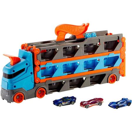 Camion si pista de masinute Hot Wheels-Speedway Hauler cu trailer si 3 masinute