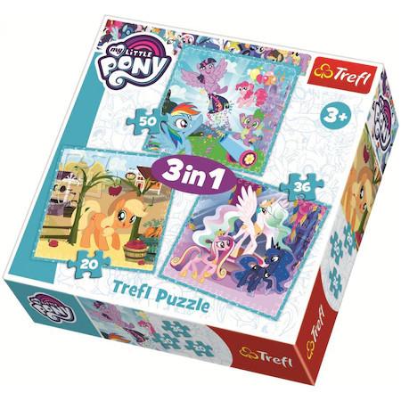 Puzzle Trefl 3 in 1, Little Pony, Ponei fericiti