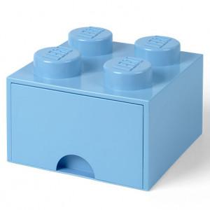 Cutie depozitare LEGO 2x2 cu sertar, albastru deschis