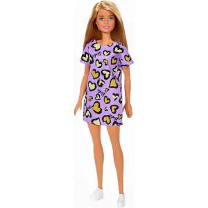 Papusa Barbie clasic look, rochie mov cu animal print